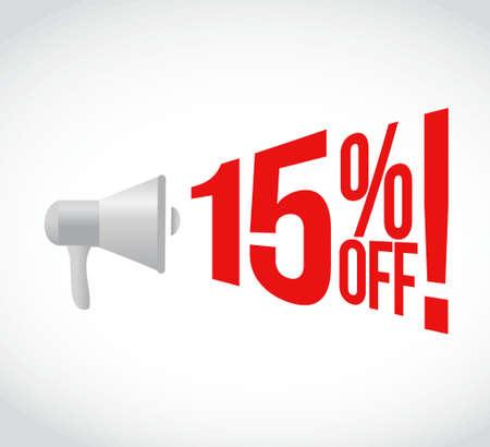 15: 15 percent off message concept sign illustration design