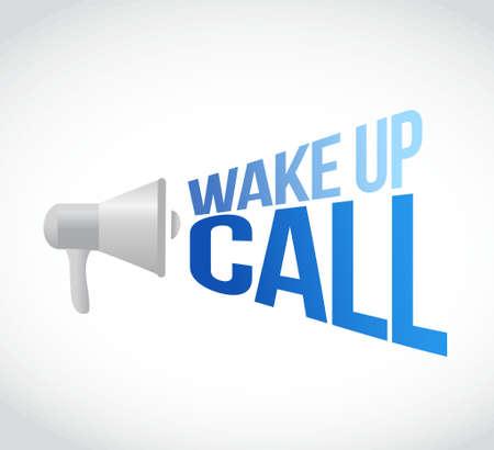 despertarse: despertar mensaje de llamada megáfono en voz alta. Ilustración del concepto de diseño