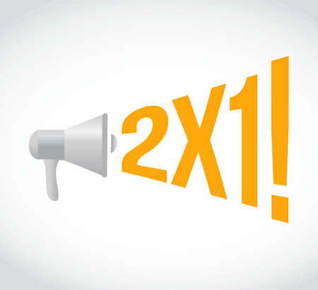 using voice: 2 for 1 message concept sign illustration design