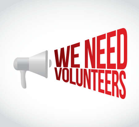 assistance: we need volunteers megaphone message at loud. concept illustration design