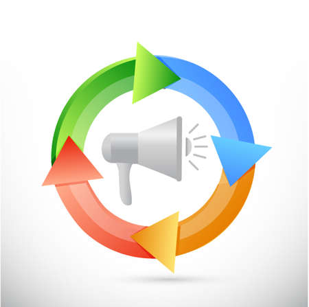 using voice: repetitive megaphone message illustration design graphic over white