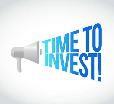 Zeit Megaphon Nachricht an laut zu investieren. Konzept, Illustration, Design