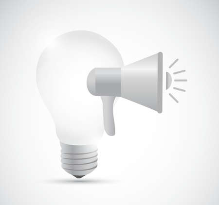 using voice: idea light bulb megaphone message illustration design graphic over white