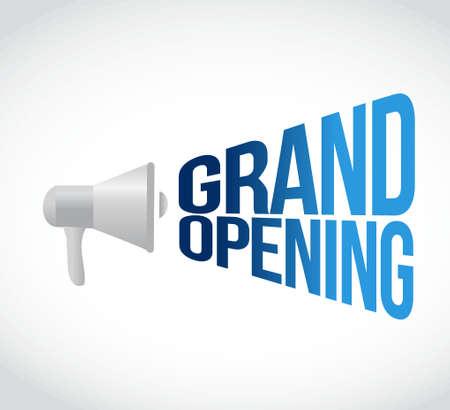 Grand Opening Megaphon Nachricht an laut. Konzept, Illustration, Design Standard-Bild - 51445855