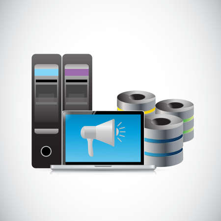 storage: data storage megaphone illustration design graphic over white Illustration