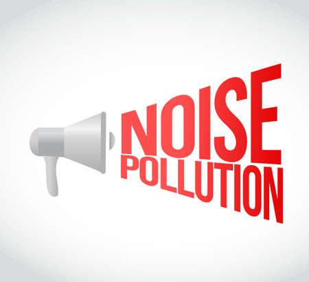 contaminacion acustica: ruido mensaje de contaminaci�n del meg�fono en voz alta. Ilustraci�n del concepto de dise�o Vectores