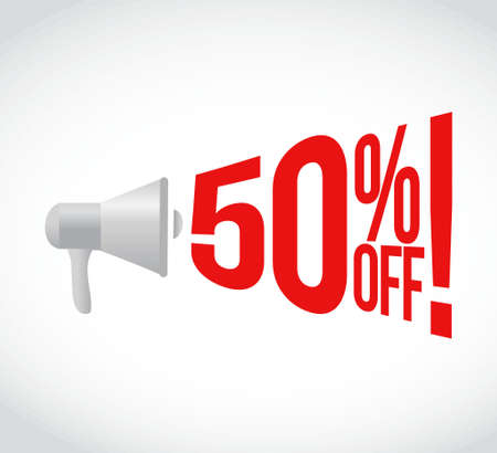 volume discount: 50 percent off message concept sign illustration design