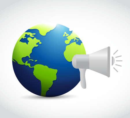 global design: global news megaphone message illustration design graphic over white