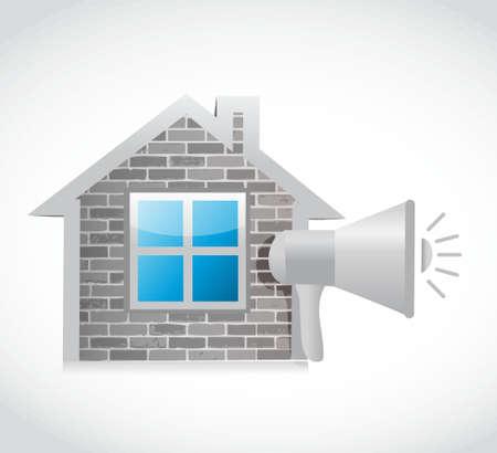 heard: home megaphone message alarm illustration design graphic over white