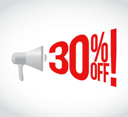 using voice: 30 percent off message concept sign illustration design