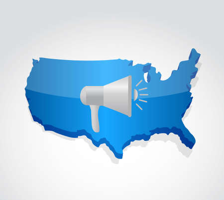 using voice: megaphone us map illustration design graphic over white
