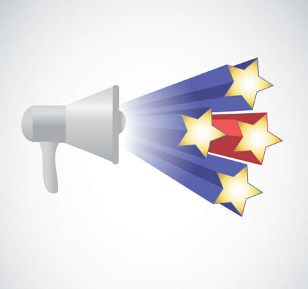 using voice: megaphone stars illustration design isolated over white Illustration