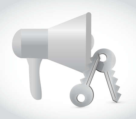 using voice: megaphone and keys illustration design graphic isolated over white