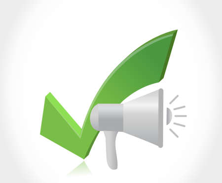using voice: megaphone and check mark illustration design graphic isolated over white