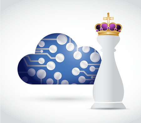 royal person: King chess piece and circuit board cloud illustration design graphic