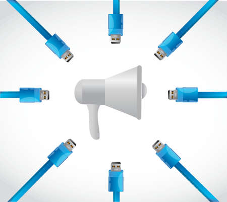 megaphone and usb cables illustration design graphic isolated over white