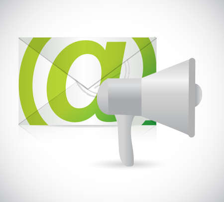 using voice: megaphone email illustration design isolated over white Illustration