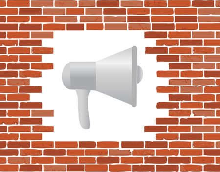 megaphone and brick wall hole illustration design graphic isolated over white Stock Illustratie