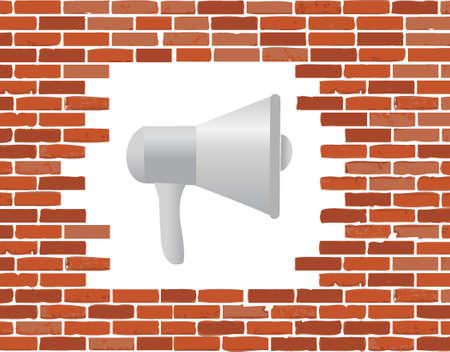 megafoon en bakstenen muur gat illustratie grafisch geïsoleerde over wit