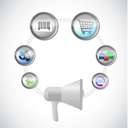 using voice: megaphone and ecommerce illustration design graphic isolated over white