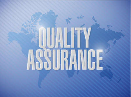 contingency: Quality Assurance world map sign concept illustration design graphic
