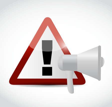warning graphic: megaphone and warning sign illustration design graphic isolated over white Illustration