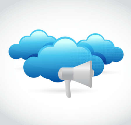 using voice: megaphone cloud computing illustration design isolated over white