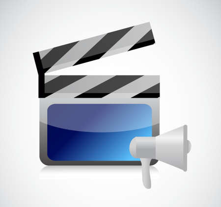 using voice: megaphone video icon illustration design isolated over white