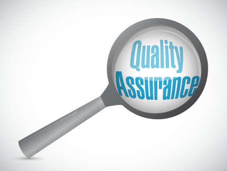 happening: Quality Assurance magnify sign concept illustration design graphic