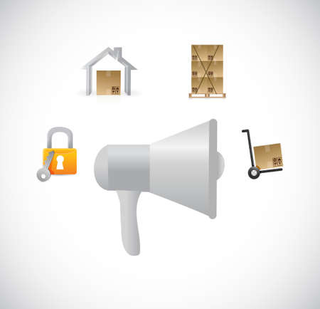 using voice: megaphone and shipping center illustration design graphic isolated over white Illustration
