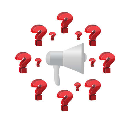 heard: megaphone and question marks illustration design graphic isolated over white Illustration