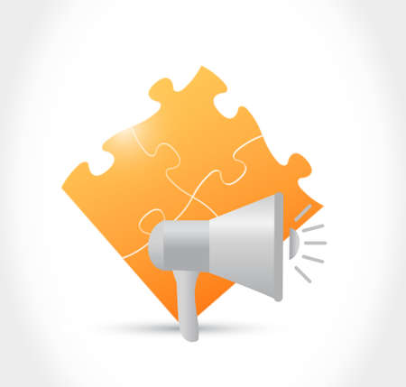 using voice: megaphone and orange puzzle pieces illustration design graphic isolated over white Illustration
