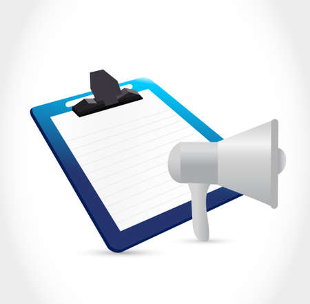 using voice: megaphone and clipboard illustration design isolated over white