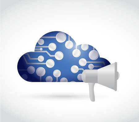 using voice: megaphone cloud computing circuit network illustration design isolated over white