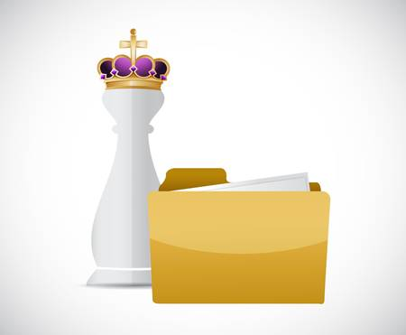 King chess piece and folder illustration design graphic