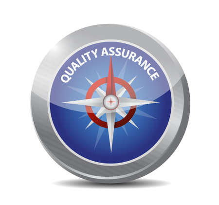 virtue: Quality Assurance compass sign concept illustration design graphic
