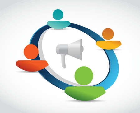 using voice: megaphone people network illustration design isolated over white