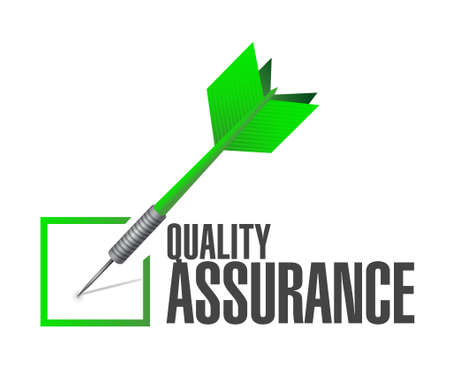 happening: Quality Assurance check dart sign concept illustration design graphic