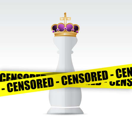 censored: King chess piece and censored yellow tape illustration design graphic