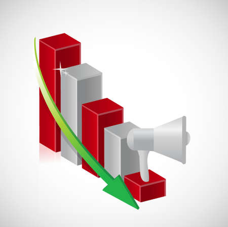 using voice: megaphone business falling graph illustration design isolated over white