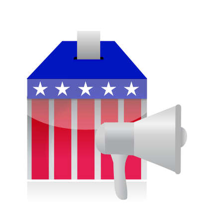 using voice: megaphone and vote ballot illustration design isolated over white Illustration