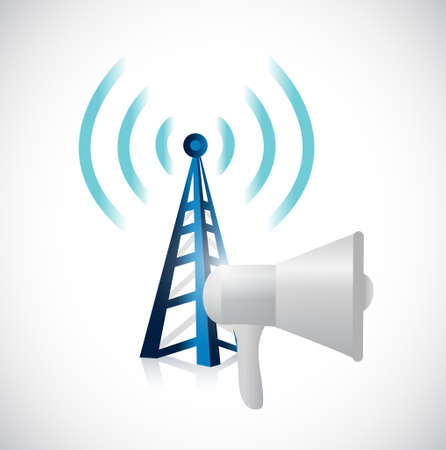 using voice: megaphone and wifi tower illustration design graphic isolated over white Illustration
