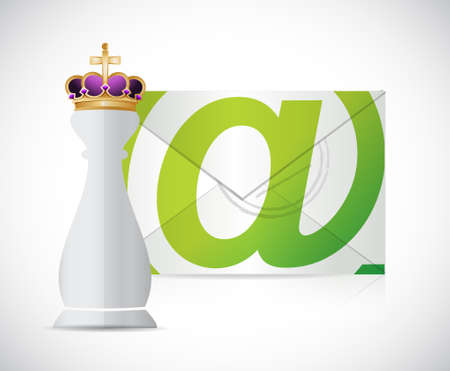 royal mail: King chess piece and mail illustration design graphic