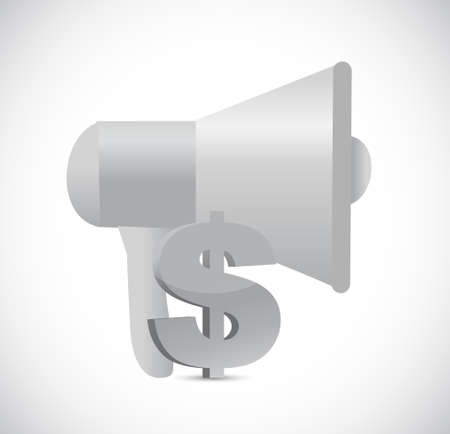 using voice: megaphone dollar currency symbol illustration design isolated over white