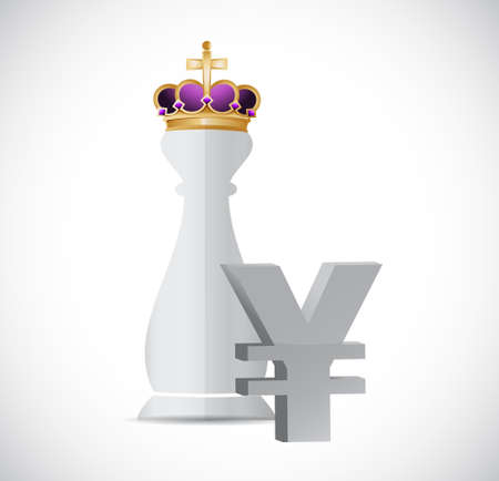 royal person: King chess piece and yen currency symbol illustration design graphic