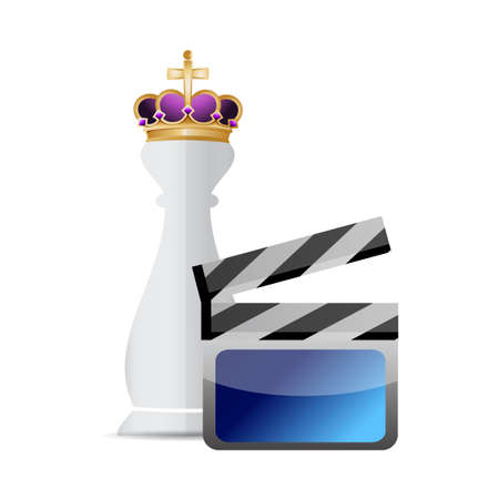 cine: King chess piece and clapper illustration design graphic