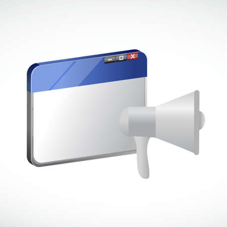 isolated over white: megaphone browser illustration design isolated over white