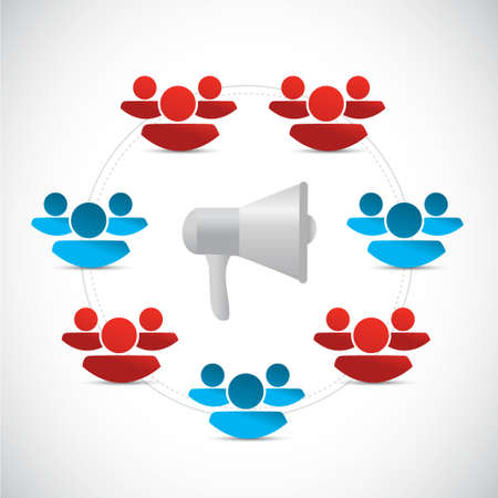 using voice: megaphone people network connection illustration design isolated over white Illustration