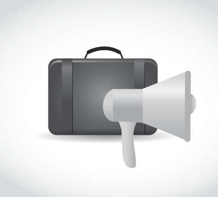 using voice: megaphone and suitcase illustration design graphic isolated over white