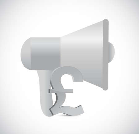 megaphone pound currency illustration design isolated over white